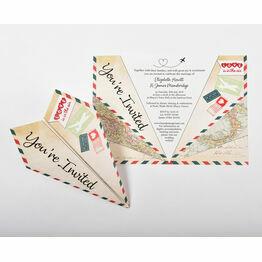 Italian Airmail Paper Airplane Wedding Invitation
