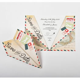 Italian Airmail Paper Airplane Wedding Save The Date