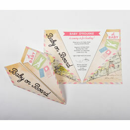 Pastel Paper Airplane Baby Shower Invitation