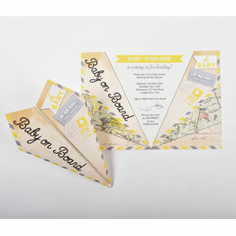 Grey & Yellow Paper Airplane Baby Shower Invitation