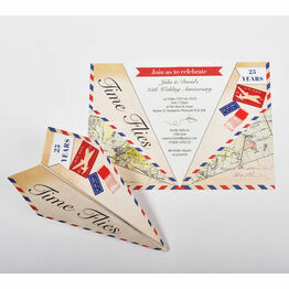 Paper Airplane Wedding Anniversary Party Invitation