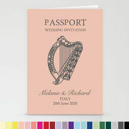 Irish Passport Travel Themed Wedding Invitation