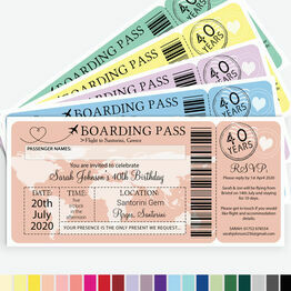 Boarding Pass Milestone Birthday Party Invitation