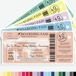 Boarding Pass Wedding Anniversary Invitation
