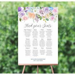 Spring Pastel Floral Wedding Seating Plan