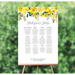 Yellow Floral Wedding Seating Plan