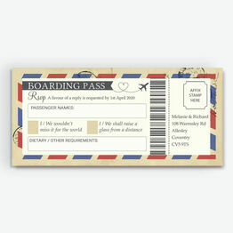 Vintage Airmail Boarding Pass RSVP