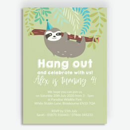 Sloth Birthday Party Invitation