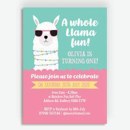 \'Whole Llama Fun\' Birthday Party Invitation