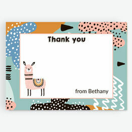 Boho Llama Thank You Card