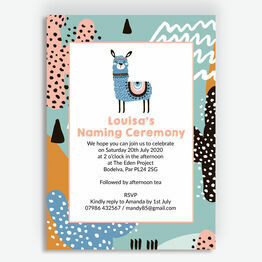Boho Llama Naming Day Invitation