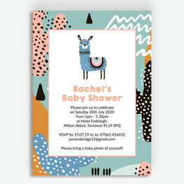 Boho Llama Baby Shower Invitation