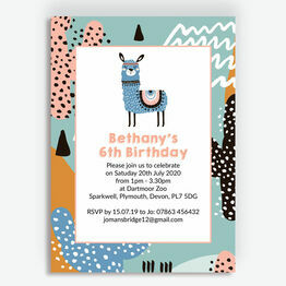 Boho Llama Birthday Party Invitation