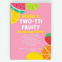 Pink Tutti Frutti Birthday Party Invitation