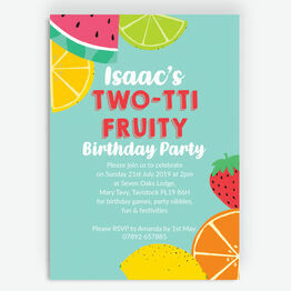 Aqua Tutti Frutti Birthday Party Invitation