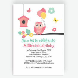Cute Owl Birthday Party Invitation