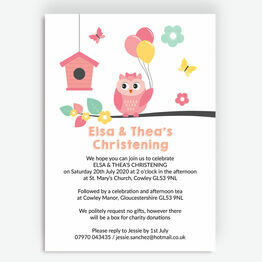 Cute Owl Christening / Baptism Invitation