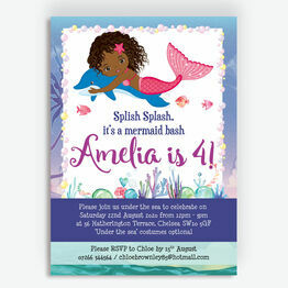 Mermaid & Dolphin Birthday Party Invitation