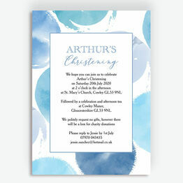 Blue Watercolour Christening / Baptism Invitation