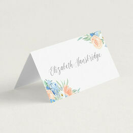 Peach & Blue Floral Place Cards