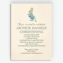 Beatrix Potter Peter Rabbit Christening / Baptism Invitation