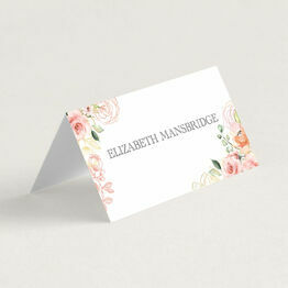 White, Blush & Rose Gold Floral Place Cards