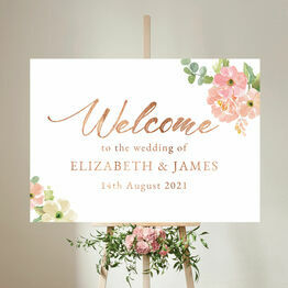 Blush Pink Floral Wedding Welcome Sign