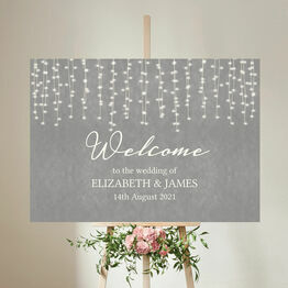 Dove Grey Fairy Lights Wedding Welcome Sign