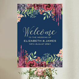 Navy & Burgundy Floral Wedding Welcome Sign