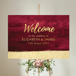 Burgundy & Gold Wedding Welcome Sign