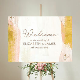 Blush & Gold Brush Strokes Wedding Welcome Sign
