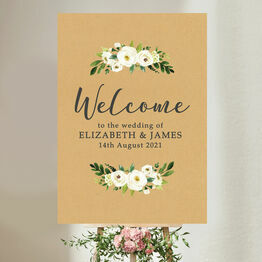 Rustic Cream Flowers Wedding Welcome Sign