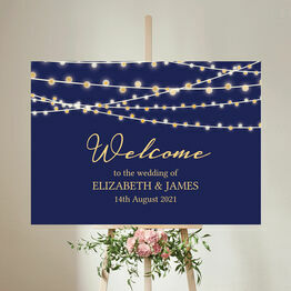 Navy & Gold Fairy Lights Wedding Welcome Sign