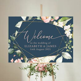 Navy, Blush & Rose Gold Floral Wedding Welcome Sign