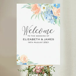Peach & Blue Floral Wedding Welcome Sign
