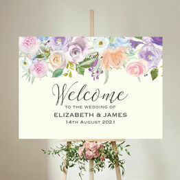 Spring Pastel Floral Wedding Welcome Sign