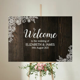 Rustic Wood & Lace Wedding Welcome Sign