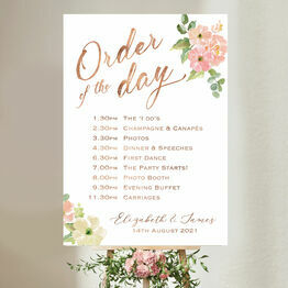 Blush Pink Floral Wedding Order of the Day Sign