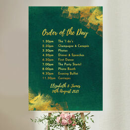 Emerald & Gold Wedding Order of the Day Sign