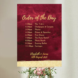 Burgundy & Gold Wedding Order of the Day Sign