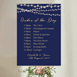 Navy & Gold Fairy Lights Wedding Order of the Day Sign