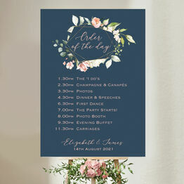 Navy, Blush & Rose Gold Floral Wedding Order of the Day Sign