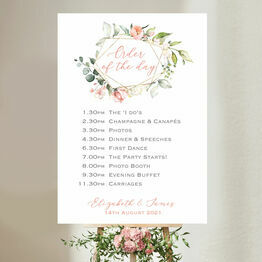 White, Blush & Rose Gold Floral Wedding Order of the Day Sign