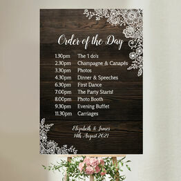 Rustic Wood & Lace Wedding Order of the Day Sign