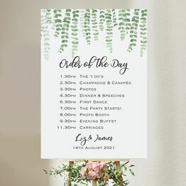 Eucalyptus Wedding Order of the Day Sign