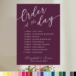 Calligraphy Inspired Wedding Order of the Day Sign