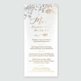 Floral Sketch Foil Wedding Menu