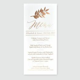 Leaf Motif Foil Wedding Menu