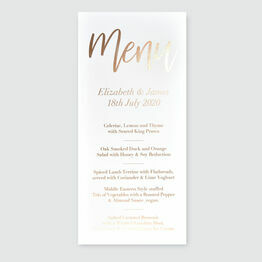 Modern Calligraphy Foil Wedding Menu