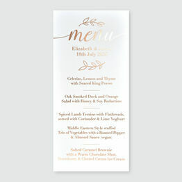 Olive Wreath Foil Wedding Menu